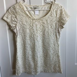Banana Republic Detailed Lace White Top